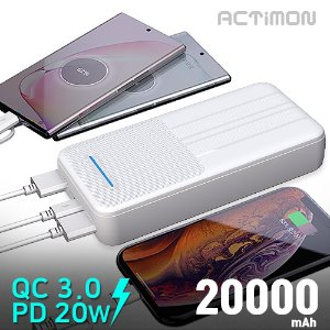 PD 20W 고속 보조배터리 20000mAh( C+5 Cable + 8 Gender )MON-PD20W-K20000